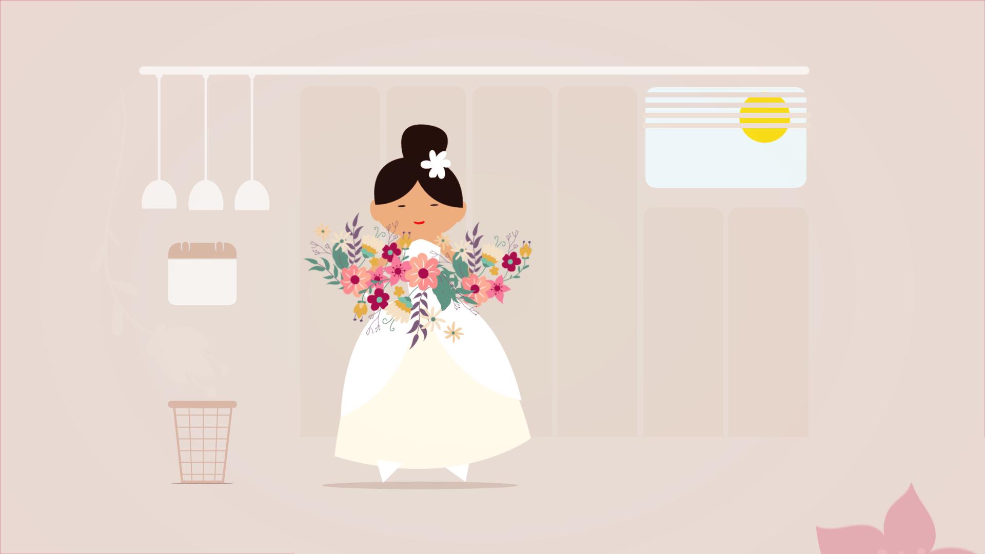 Animácia pre rozvoz svadobných kytíc Lásky Kvet